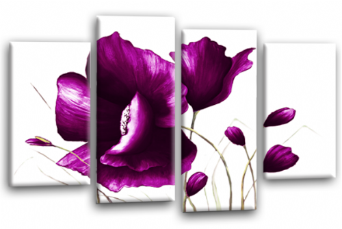 Purple White Flower Canvas Wall Art Floral Painting Picture Print Split Panel